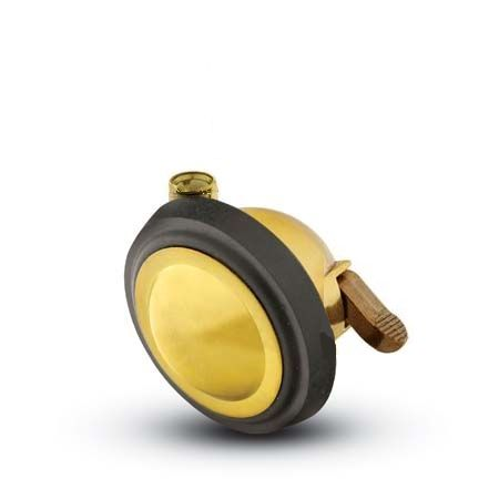 Stemless, Swivel Ball Caster with a Bright Brass finish and a Brake.