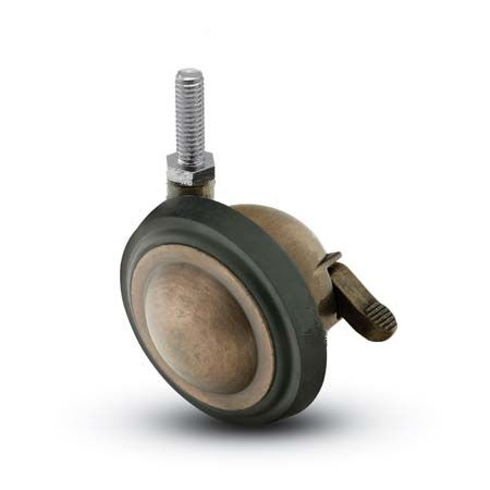 Swivel Ball Caster with a Antique finish, Threaded Stem connector and a Brake.
