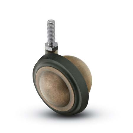 "Caster; Ball; Swivel; 3""; Rubber; Hard; Threaded Stem; 5/16""-18TPI x 1/2"" high; Antique; Acetyl/ Resin Brng; 100# (69516)"