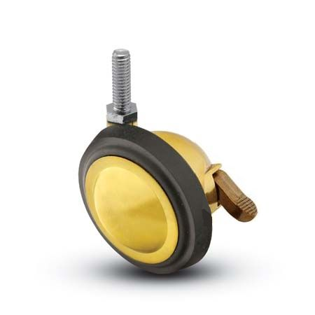 "Caster; Ball; Swivel; 3""; Rubber; Hard; Threaded Stem; 5/16""-18TPI x 2""; Brass; Acetyl/ Resin Brng; 100#; Pedal Lock; Wheel (69562)"