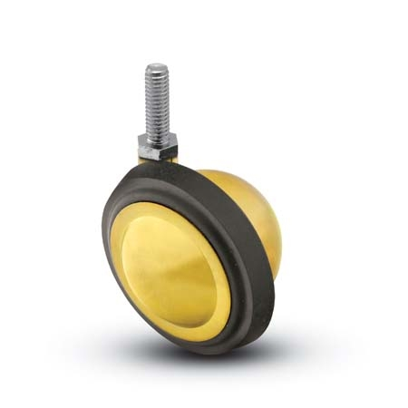 "Caster; Ball; Swivel; 2-1/4""; Rubber; Hard; Threaded Stem; 5/16""-18TPI x 1/2"" high; Brass; Acetyl/ Resin Brng; Wgt Cap: 75# (69671)"