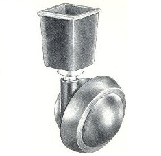 "Caster; Ball; Swivel; 2-1/4""; Rubber Trd; Ferrule; Square; 1-3/8"" tall; 7/8"" top I.D. and 3/4"" bottom I.D.; Antique; 75#( Call for availability) (67138)"