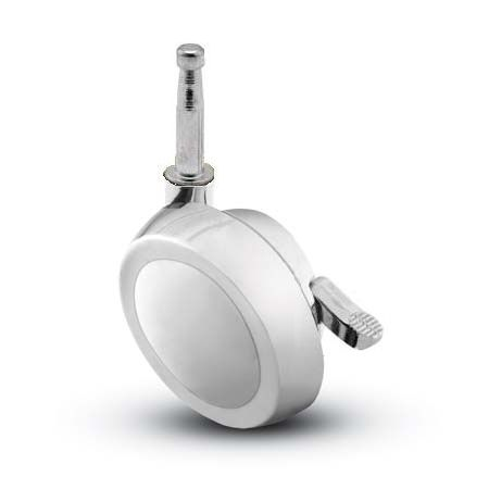Swivel Ball Caster with a Chrome finish, Grip Neck connector and a Brake.