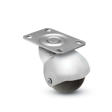 "2"" Spherical Caster with a Polyolefin tread, Top Plate connector, and Chrome finish (#69699)"