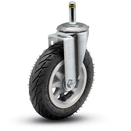 Swivel Caster with a Pneumatic wheel and grip ring Stem.