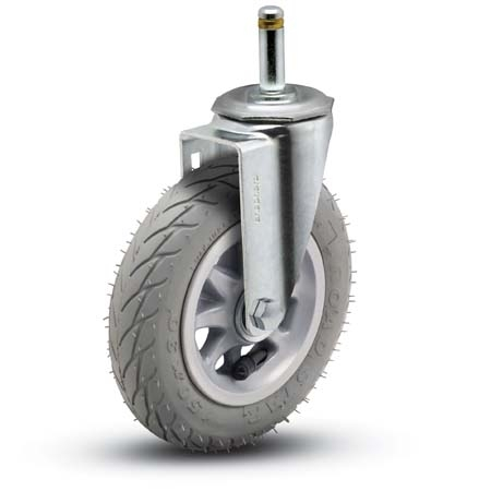 Swivel Caster with a Gray flat free wheel and grip ring stem.