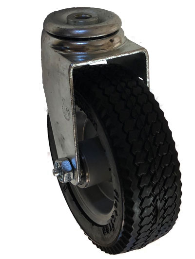 "Caster; Swivel; 6"" x 2""; Foam-Filled Flat Free Tire (Black); Hollow Kingpin (1/2"" bolt hole); Prec Ball Brng; 275#; Sawtooth Tread; Premium Hub; Wheel Brake (64945)"