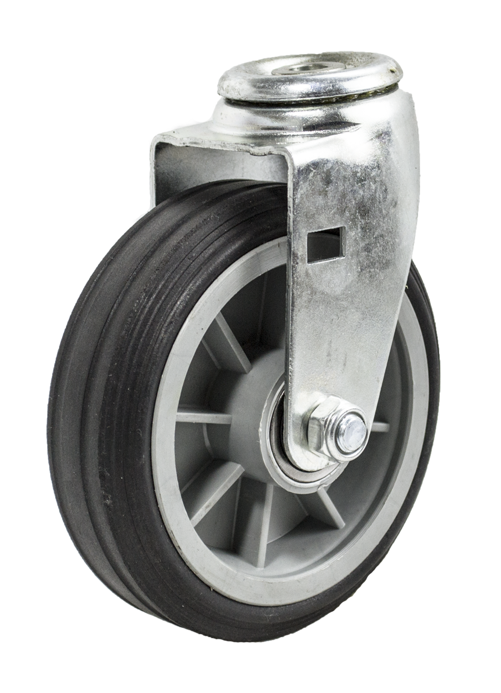 "Caster; Swivel; 6"" x 2""; Solid Rubber on Plastic Hub (Grey); Hollow Kingpin (1/2"" bolt hole); Ball Brng; 350#; Ribbed Tread (64281)"