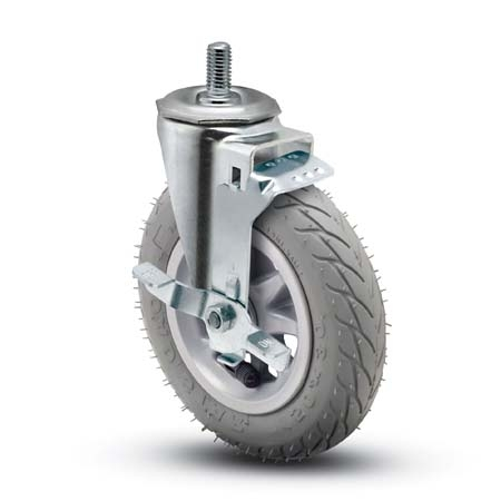 "Caster; Swivel; 6"" x 1-1/4\""; Foam-Filled Flat Free Tire (Gray); Expandable Adapter (Round for 7/8\"" - 15/16\"" ID tubing); Zinc; Ball Brng; 150#; Tread brake (64262)"