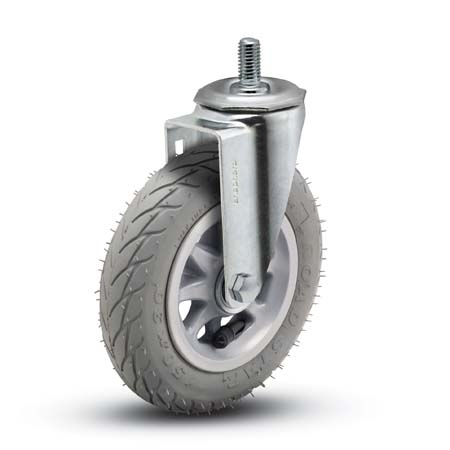 Swivel Caster with a Foam-Filled Flat Free Tire (Gray) wheel, Zinc finish, and Threaded Stem connect