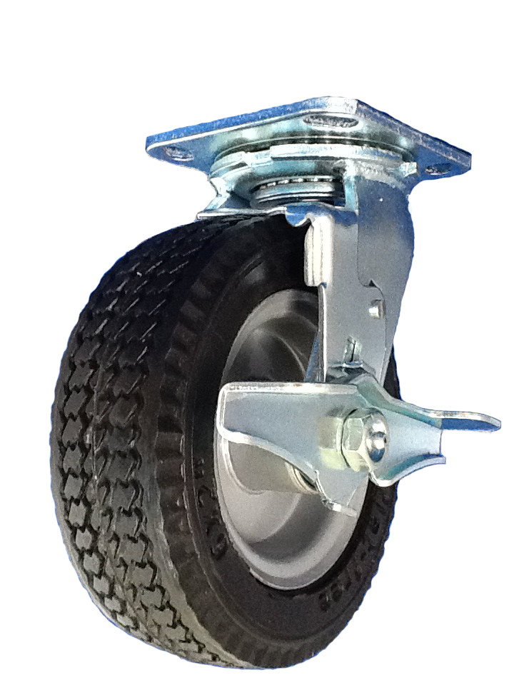 "Caster; Swivel; 6"" x 2""; Flat Free; Plate (4""x4-1/2""; holes: 2-5/8x3-5/8 slotted to 3x3; 3/8 bolt); Prec Ball Brng; 250#; Sawtooth Tread; Prem Hub; Wheel Brake (66705)"