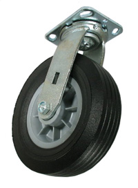 Swivel caster with a semi-pneumatic wheel.