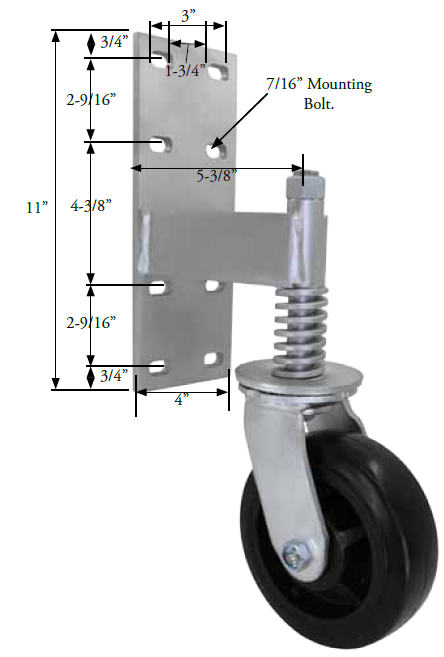 "Spring Loaded Gate Swivel Caster; 6"" x 2""; Phenolic; Bracket (11""x4""; 8 holes 1-3/4"" (slotted to 3"") x 9-1/2"";  7/16"" bolt); Zinc; Roller Brng; 700# (65443)"