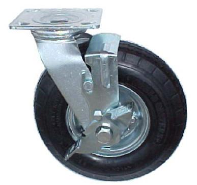 Swivel Caster with a black pneumcatic wheel and brake.
