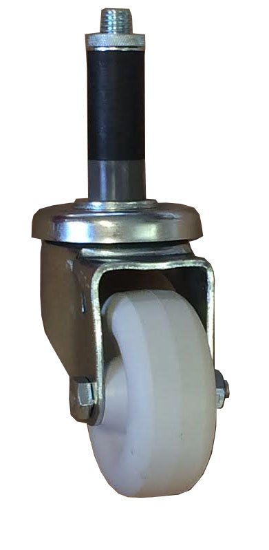 "Caster; Swivel; 3 x 1-1/4; White Polyolefin; round tread; Expandable Adapter (1-1/8""-1-3/16"" ID tubing); Zinc; Plain bore; 300#; Dustcap (Mtl) (69288)"