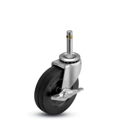 Swivel Caster with a black wheel, Zinc finish, Grip Ring connector and a side friction Brake.