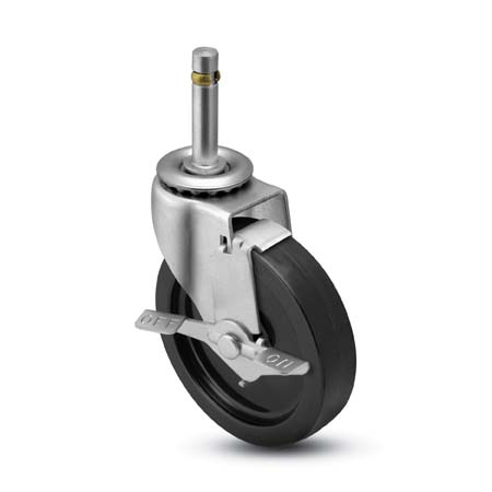 "Caster; Swivel; 2-1/2"" x 13/16""; Rubber (Hard; Non-marking); Grip Ring (7/16"" x 1-7/16""); Zinc; Plain bore; 95#; Side friction brake (66406)"