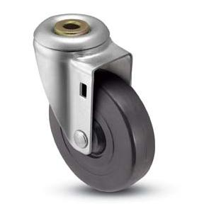 Swivel Caster with a black wheel and Hollow Kingpin connector.