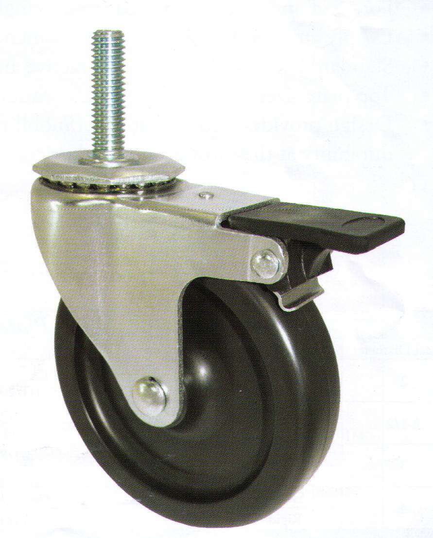 "Caster; Swivel; 3"" x 13/16""; Polyolefin; Threaded Stem (3/8""-16TPI x 1-1/2""); Zinc; Plain bore; 110#; Pedal Brake (66658)"