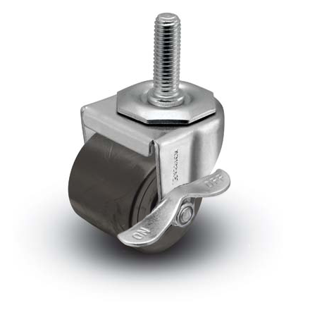 "2"" x 1-13/16"" Swivel Caster with a Polyolefin wheel, Threaded Stem connector, and Plain bore (#66514)"
