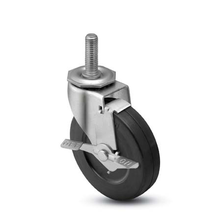 Swivel Caster with a black, Polyolefin wheel, Zinc finish, Threaded Stem connector and a Brake.