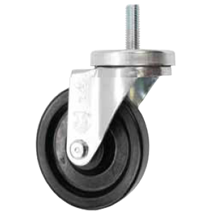 "Caster; Swivel; 3"" x 1-1/4""; Polyolefin; Threaded Stem (3/8""-16TPI x 1-1/2""); Zinc; Plain bore; 300#; Dust Cover (Mtl) (66804)"