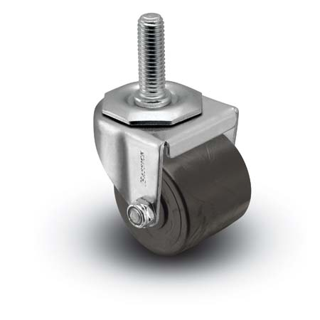 Swivel Caster with a black Polyolefin wheel, Zinc finish, and Threaded Stem connector.