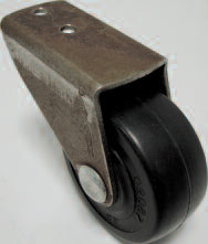Rigid Caster with a Polyolefin wheel, Bronze finish, and offset, flush-mount Plate connector.