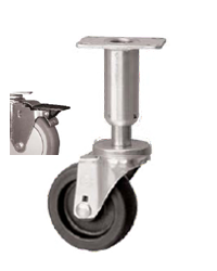 Caster; Swivel; 3x1-1/4; Polyolefin; Plate (2-3/8x3-5/8; holes: 1-3/4x2-7/8 slotted to 3; 5/16 bolt); 300#; Leveling Leg (3-5/8 leg; 1-1/2 adjust); Pedal Brake (66971)
