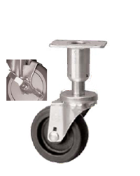 Caster; Swivel; 3x1-1/4; Polyolefin; Plate (2-3/8x3-5/8; holes: 1-3/4x2-7/8 slotted to 3; 5/16 bolt); 300#; Leveling Leg (2 long; 5/8 adj); Brake (66964)