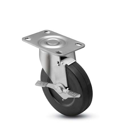 "Caster; Swivel; 4"" x 1-1/2""; Rubber (Hard); Top Plate (4""x5-1/8""; holes: 3""x4""; 3/16"" bolt); Zinc; Nylon Bushing; 300#; Tread Brake (64382)"