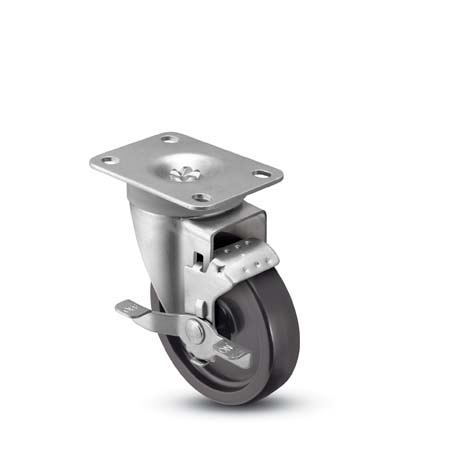 Swivel Caster with a black, Polyolefin wheel, Zinc finish, Plate connector and Brake.