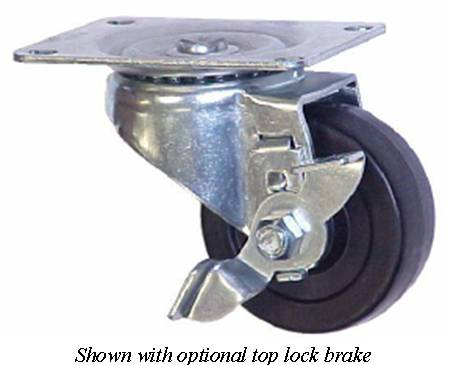 Swivel Caster with a Polyolefin wheel, Zinc finish, Top Plate connector and a Brake.