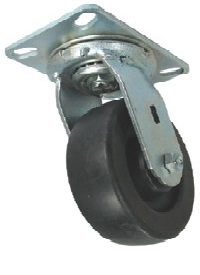 "Caster; Swivel; 8"" x 2""; Polyolefin; Plate (4-1/2""x6-1/4""; holes: 2-7/16""x4-15/16"" slotted to 3-3/8""x5-1/4""; 1/2"" bolt); Zinc; Roller Brng; 1400# (65023)"