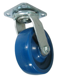 Caster with a blue Polyurethane wheel,  zinc finish, and plate connector.