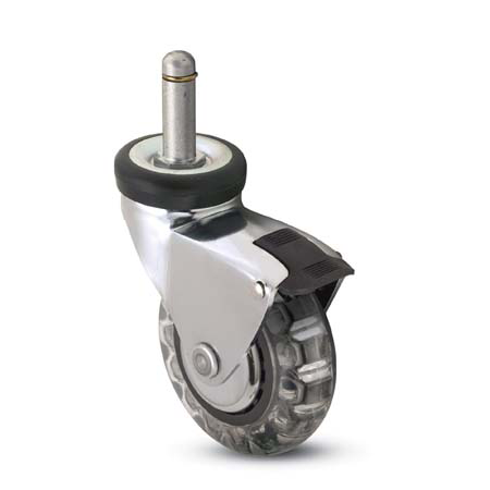 Swivel caster with a polyurethane skate wheel, grip ring stem and pedal brake.