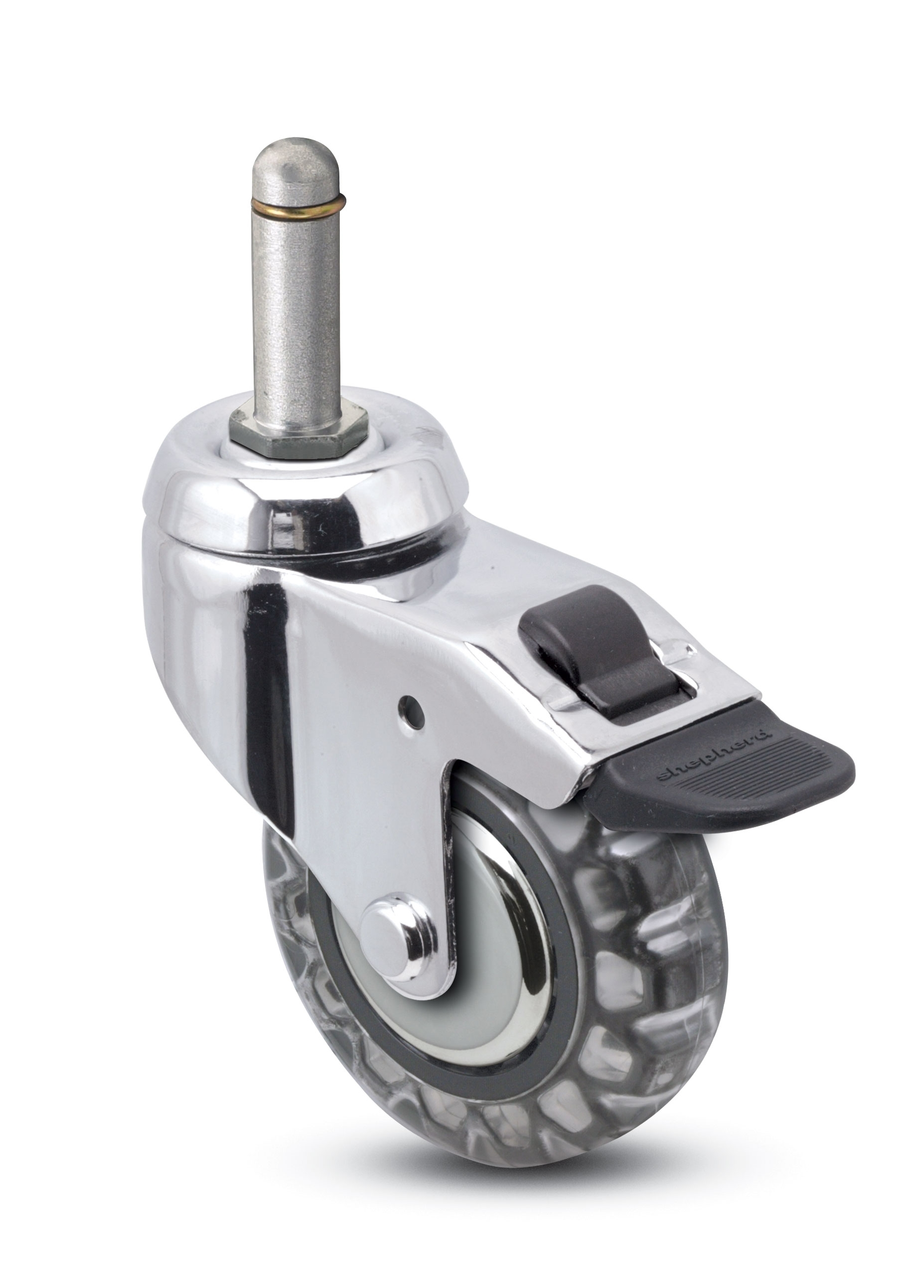 "Caster; Swivel; 3"" x 15/16""; Polyurethane (Clear); Grip Ring (7/16"" x 7/8""); Chrome; Precision Ball Brng; 120#; Total Lock Brake: Thread Guards (65742)"