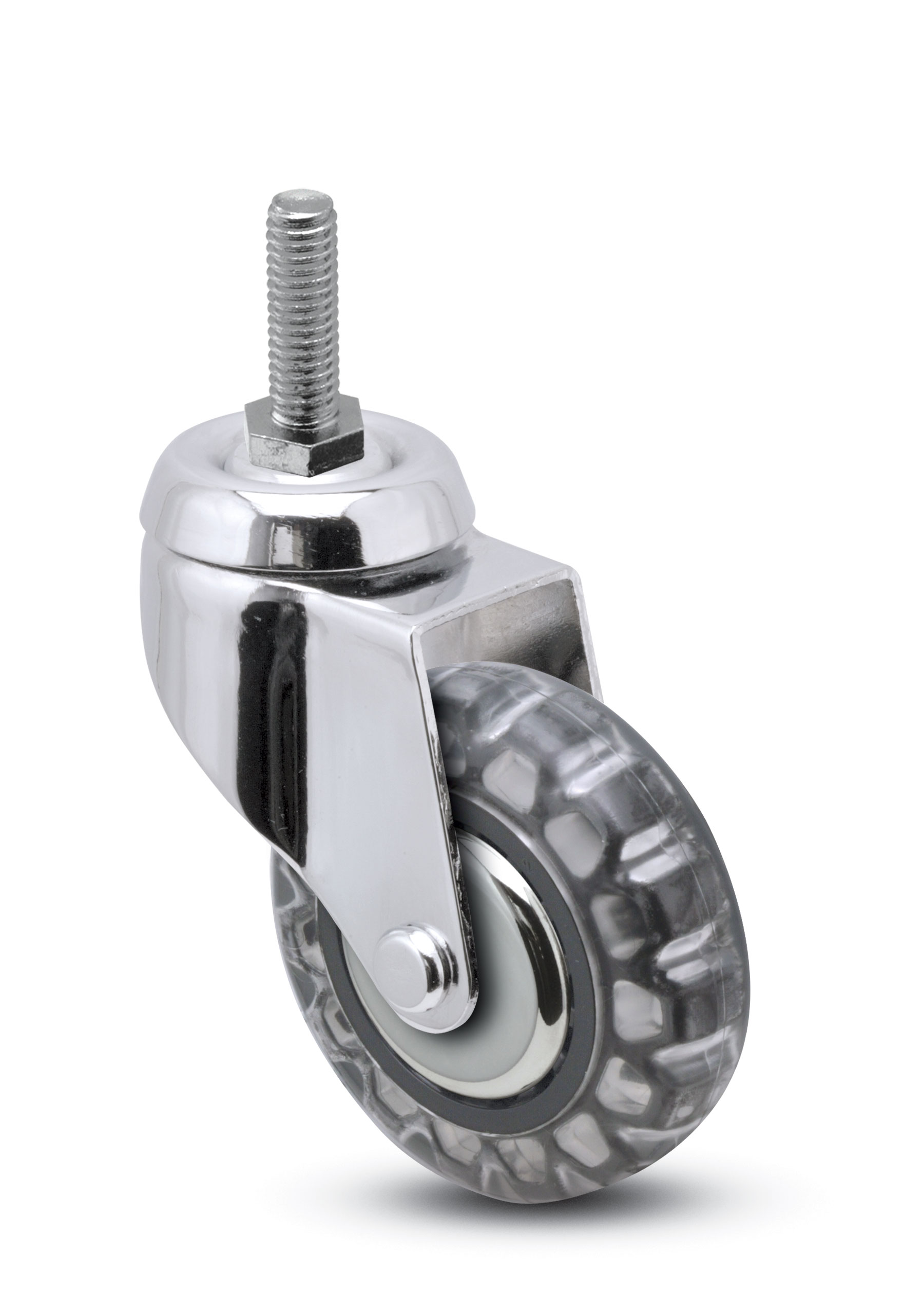 Swivel caster with bright chrome finish, threaded stem and clear polyurethane skate wheel