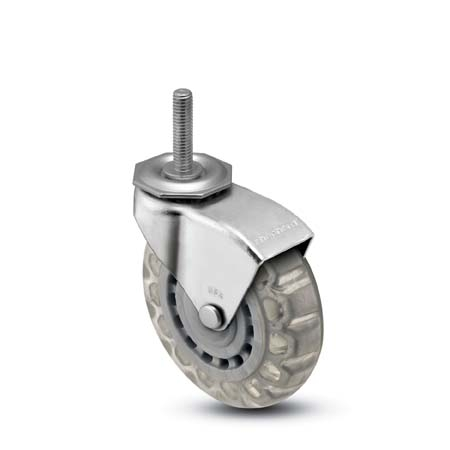 Swivel Caster with a clear Polyurethane (skate) wheel, Zinc finish, Threaded Stem connector and a Ho
