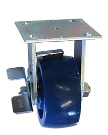 Rigid Caster with a solid Polyurethane wheel, Zinc finish, Plate connector and a Brake.