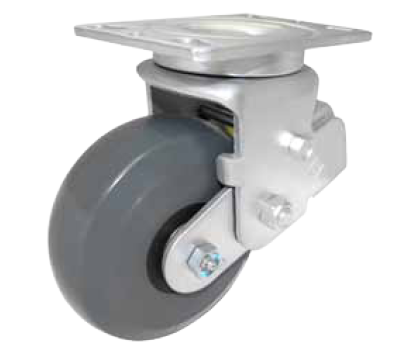 Swivel caster with top plate and shock-absorbing springs.