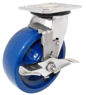 Caster; Swivel; 5x2; Polyurethane (Blue); Plate; 4x4-1/2; holes: 2-5/8x3-5/8 (slotted to 3x3); 3/8 bolt; Stainless Rig and Roller Brng; 800#; Brake (65369)