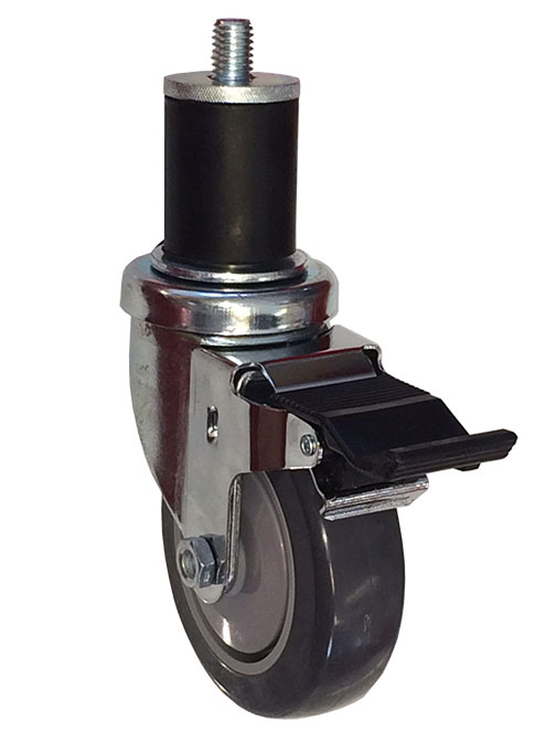 "Caster; Swivel; 5"" x 1-1/4""; TPR Rbr Round; Expandable Adapter (1.426"" - 1.589"" ID tubing); Stainless; Ball Bearing (Single); 300#; Dust Cover; Pedal Brake (65696)"
