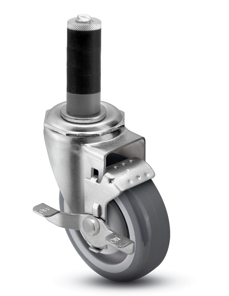 Swivel Caster with a Gray Polyurethane wheel, Zinc finish, Expandable Adapter connector and tread br