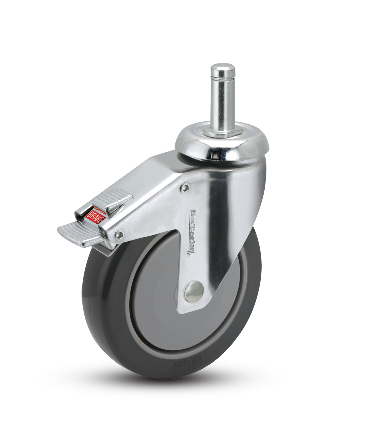 Swivel Caster with a Polyurethane on PolyO wheel, Chrome finish,  Grip Ring connector and total lock