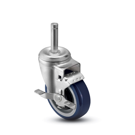 "3"" x 1-1/4"" Swivel Caster with a PolyU on PolyO (Bl/Gr) wheel, Grip Ring connector, and Ball Brng (#66333)"