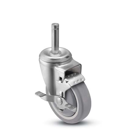"Caster; Swivel; 4"" x 1-1/4""; Thermoplastized Rubber (Gray); Grip Ring (7/16"" x 1-1/4""); Zinc; Ball Bearing (Single); 260#; Tread brake; Bearing Cover (66396)"