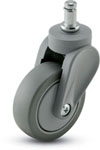 Swivel Caster with a gray PolyU on PolyO wheel, Gray finish, and Grip Ring connector.