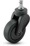 Swivel Caster with a back PolyU on PolyO wheel, Black finish, and Grip Ring connector.