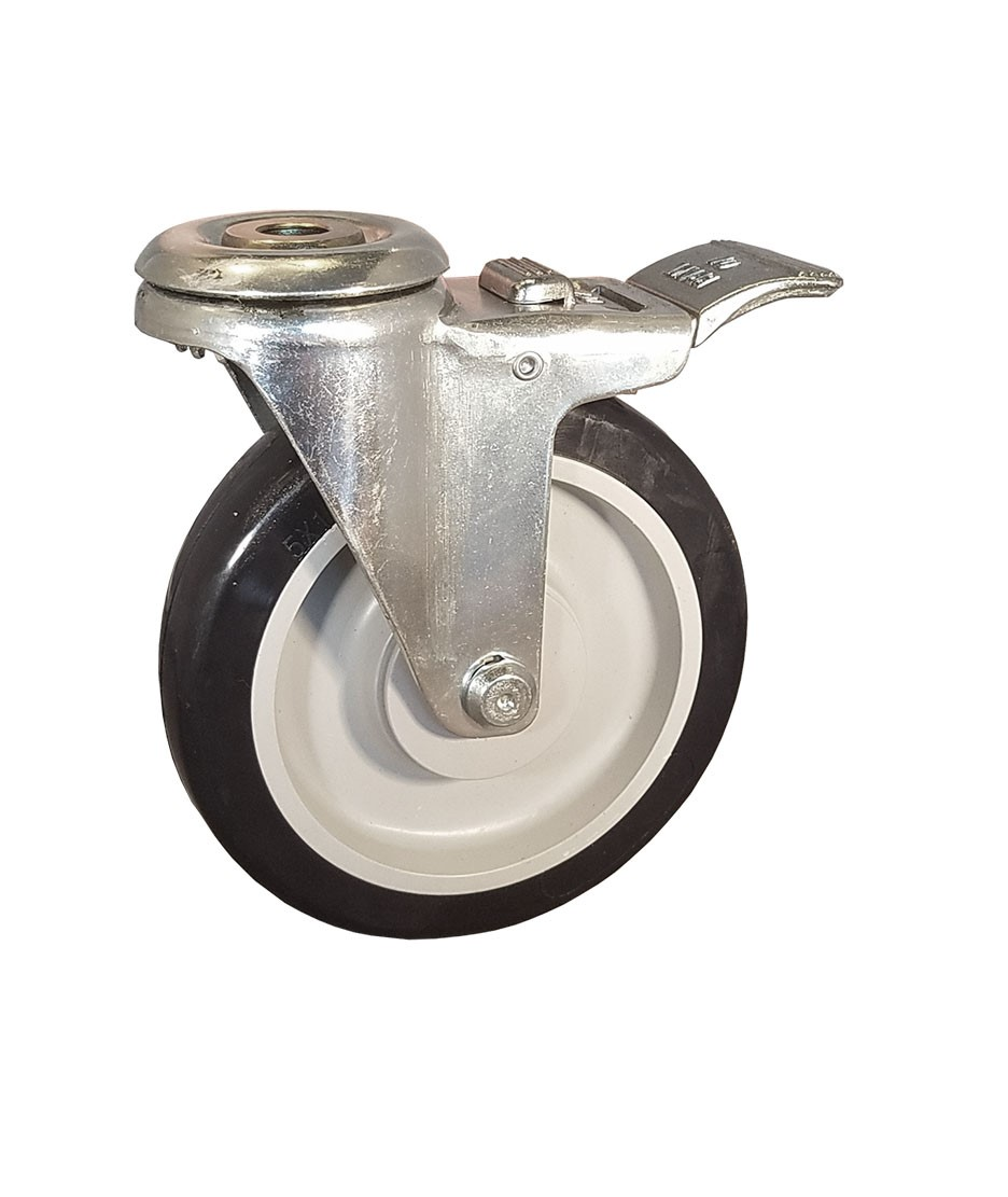"Caster; Swivel; 5"" x 1-1/4""; PolyU on PolyO (Gray); Hollow Kingpin (1/2"" bolt hole); Zinc; Plain bore; 300#; Total Lock pedal brake (65078)"